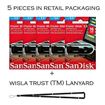 SanDisk Cruzer Glide 16GB (5 pack) SDCZ600-016G USB 3.0 Flash Drive Jump Drive Pen Drive SDCZ600-016G - Five Pack + BONUS Wisla Trust (TM) Lanyard