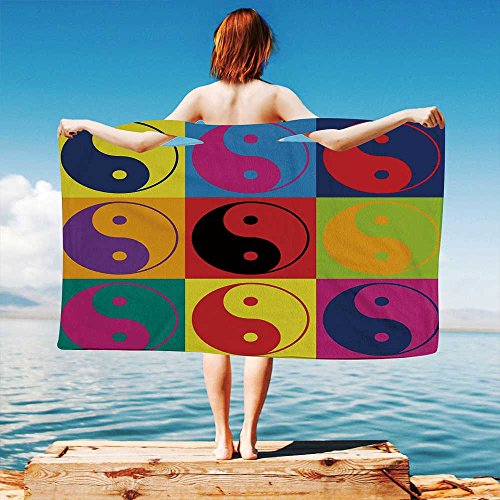 iPrint Ying-Yang Quick Dry Plush Microfiber (Towel+Square scarf+Bath towel) Pop-Art-Design-Yin-Yang-Signs-Hippie-Style-Eastern-Asian-Decorations-Peace-and-Balance And Adapt to any ()