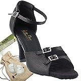 Womens Ballroom Dance Shoes Tango Wedding Party Salsa Shoes Black Satin 1620EB Comfortable - Very Fine 2.5'' Heel 8 M US [Bundle 5]