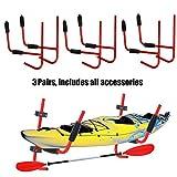 XFMT 3 Pairs Steel Kayak Ladder Wall Mount Storage Rack Surfboard Canoe Folding Hanger