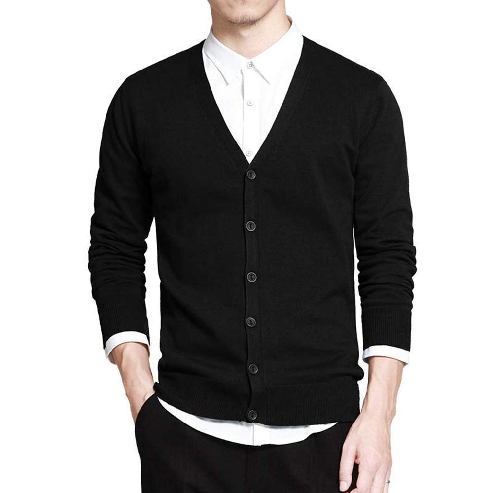 Men V-Neck Solid Slim Fit Knitting Mens Sweaters Cardigan Male Autumn Casual Tops Hots