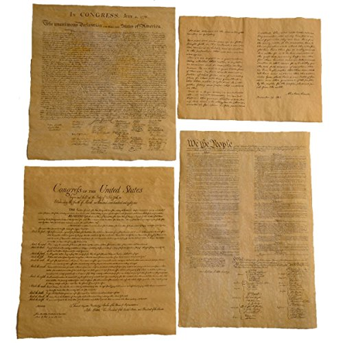 4 Antiqued Parchment Paper Us Historical Documents   The Declaration Of Independence  The Us Constitution  The Bill Of Rights  And The Gettysburg Address