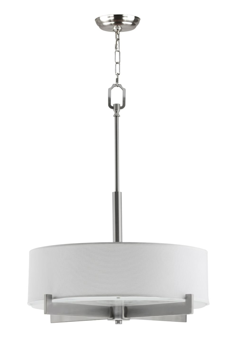 Allegro Drum Pendant Ceiling Lamp - 3 Light Fixture Brushed Nickel White Fabric Shade Frosted Glass - 84 Inch Max Height Linea di Liara LL-C134-BN by Linea di Liara