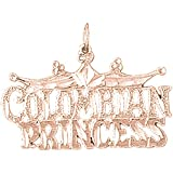 14K Rose Gold Colombian Princess Pendant Necklace - 22 mm