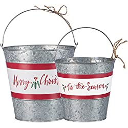 Primitives By Kathy 7.50 Inches Tall Jute Metal Merry Christmas Bucket Set Household Supplies
