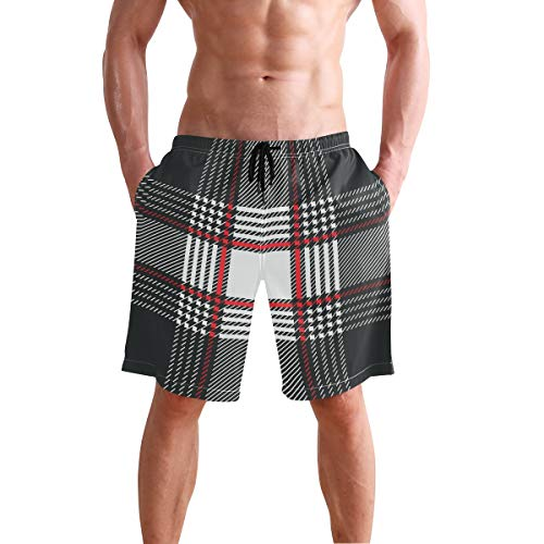(Mens Swim Trunks Stripes Print Plaid Black Red White Beach Board Shorts)