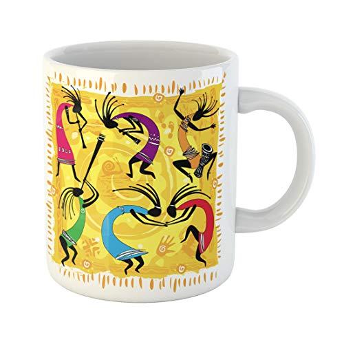 Semtomn Funny Coffee Mug Ethnic Dancing Figures on Orange Kokopelli Tribal Dance Southwest 11 Oz Ceramic Coffee Mugs Tea Cup Best Gift Or -