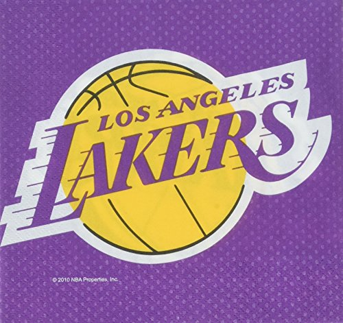 Amscan Los Angeles Lakers NBA Collection Luncheon Napkins, 96 Ct.