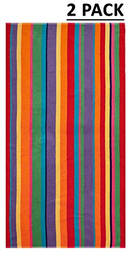 Cotton Craft - 2 Pack Terry Beach Towel 30x60 - Summer of Siam Multi Stripe - 400 grams per square meter- 100% Pure Ringspun Cotton - Brilliant Vibrant colors - Highly absorbent easy care machine wash