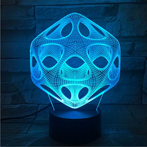 kkkmb 3D Night Light New Abstract 3D Lamp Multicolored Bluetooth Audio Touch Led Lamp Creative Gift Visual Night Lamp