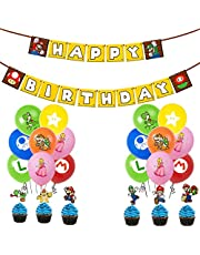 Super Mario Birthday Party Supplies Pack Includes Banner Cake Topper 24 Cupcake Toppers 21 Balloons for Super Mario party supplies