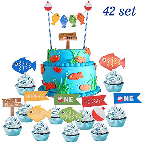 1st Birthday Cupcake Theme (Suppar 42 Set The Big One Cake Topper,Gone Fishing Bobber Cake Cupcake Toppers, Ofishally One 1st Birthday Little Fisherman Party Supplies)
