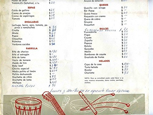 Amazon.com : Rancho El Ceibal Restaurant Menu Buenos Aires Argentina : Everything Else