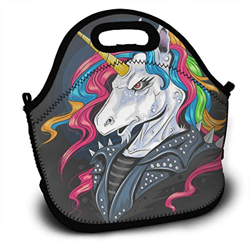 (Insulated Lunch Bag - Unicorn Jacket Rider Reusable Lunch Tote Lightweight Shoulder Bag with Adjustable Shoulder Strap Mom Bag for Kids Adults in Office, School Or Outdoor Travel Picnic)