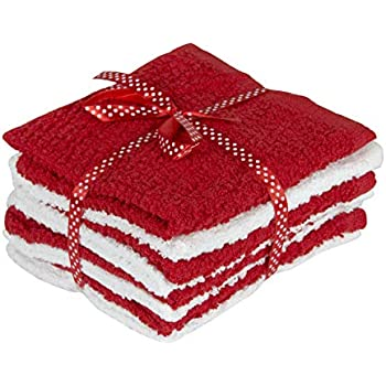 New Holiday Edition Super Soft and Absorbent 8 Piece Natural Cotton Washcloth Set (Red/White)