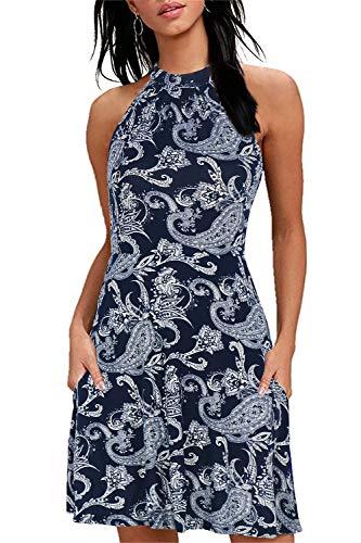 Manydress Women's Halter Neck Sundress Floral Print Summer Casual Dress MY034 (Navy Cashew, XL)