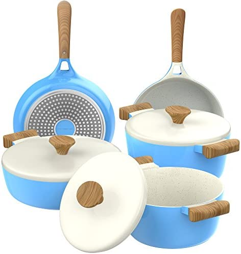 Vremi 8 Piece Ceramic Nonstick Cookware Set – Induction Stovetop Compatible Dishwasher Safe Non Stick Pots with Lids and Frying Pans – Dutch Oven Pot Fry Pan Sets for Serving – PTFE PFOA Free – Blue