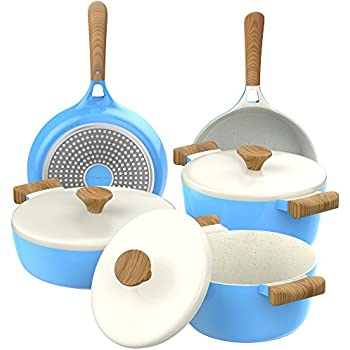 Vremi 8 Piece Ceramic Nonstick Cookware Set - Induction Stovetop Compatible Dishwasher Safe Non Stick Pots with Lids and Frying Pans - Dutch Oven Pot Fry Pan Sets for Serving - PTFE PFOA Free - Blue