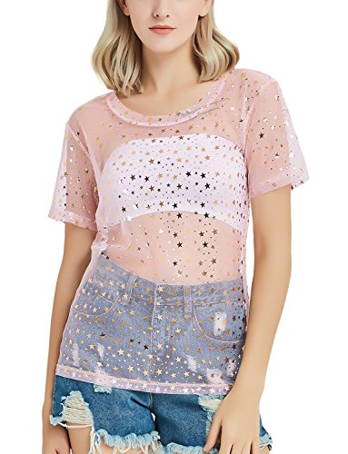 (Pink See Through Shirt Sheer Mesh T-Shirt Top for Women)