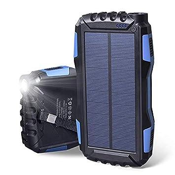 Soluser Cargador Solar Portátil con 25000mAh, Batería Externa Solar Batería de Emergencia Cargador Solar con 2 Puertos USB y Fuerte Antorcha LED para ...
