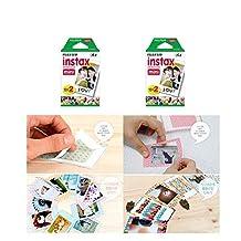 Fujifilm Instax Mini Instant Film, 2 x 10 Shoots x 2 Pack (Total 40 Shoots) Value Set + 20 Pcs Film Decorative Sticker