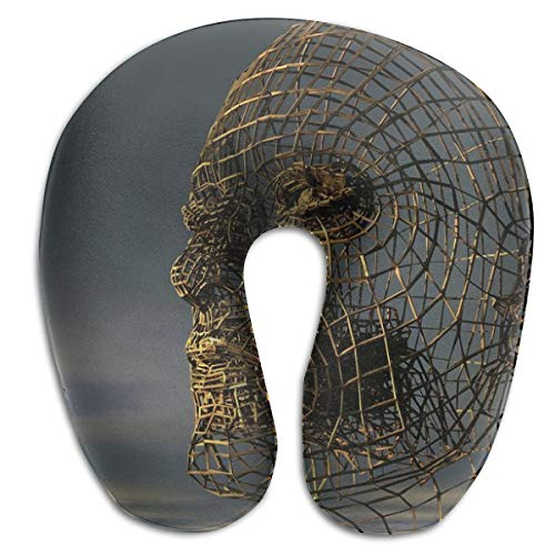 - Osvbs Head Human Head Side View Wire Mesh Lattice Model Man Skull Customized Memory Sponge U-Shaped Neck Cushion for Home, Travel, 11.81