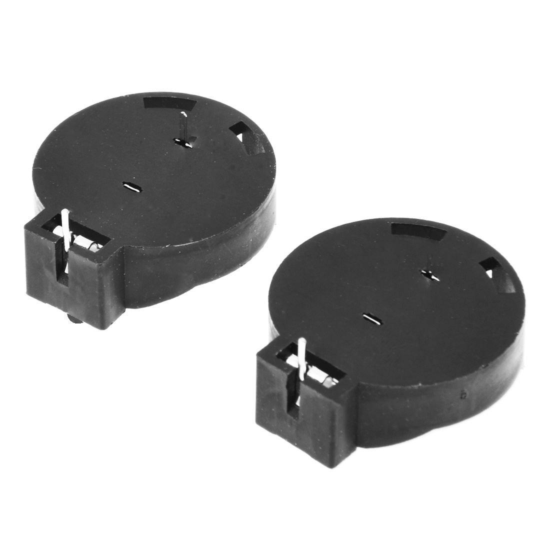TOOGOO(R) 2 Pcs CR2450 Coin Cell Button Battery Socket Holder Case 2 Pins Black
