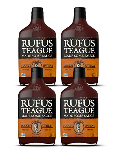Rufus Teague TOUCH O' HEAT BBQ SAUCE – (4-Pack) 16oz Bottles – World Famous Kansas City BBQ – Kinda Hot. Kinda Not. Thick & Rich made with Premium Ingredients – Gluten-Free, Kosher & Non-GMO