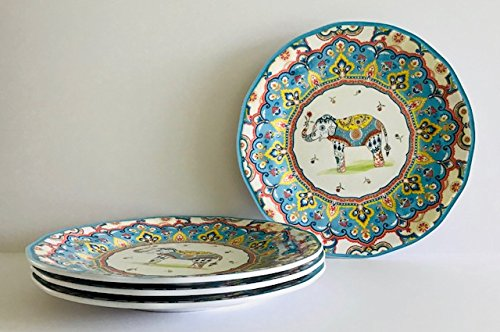 Sets Of 4 Or 2|Trunk Up Colorful Elephant & Floral Melamine Serving|Dinner|Lunch Plates|Cereal|Rice|Pasta|SoupBowls(Set Of 4 | Lunch | Salad | Dessert Plates | 9 in, Blue | Yellow | Red | White)