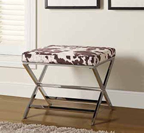 Coaster Home Furnishings 500118 X-Shaped Bench Ottoman, Cow Print, Chrome (Cow Coaster)