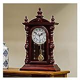 Chimenea Reloj con Carillón Cada Hora Desarrollado Péndulo Función Manto del Reloj Retro del Reloj del Escritorio De Silencio Manto Batería del Reloj del Escritorio Relojes Decoración del Hogar
