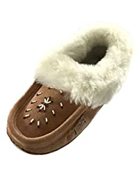 Laurentian Chief Women's Indoor Suede Slippers with Sheepskin Collar Moccasins