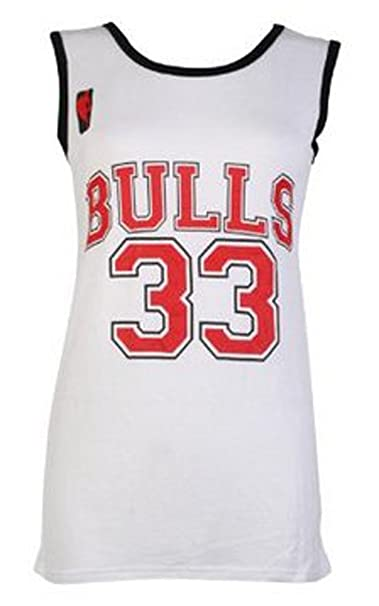 sports shoes 710be d8e20 Damen Frauen Varsity American Basketball Bulls 33 Jersey Hemd T-Shirt TOP