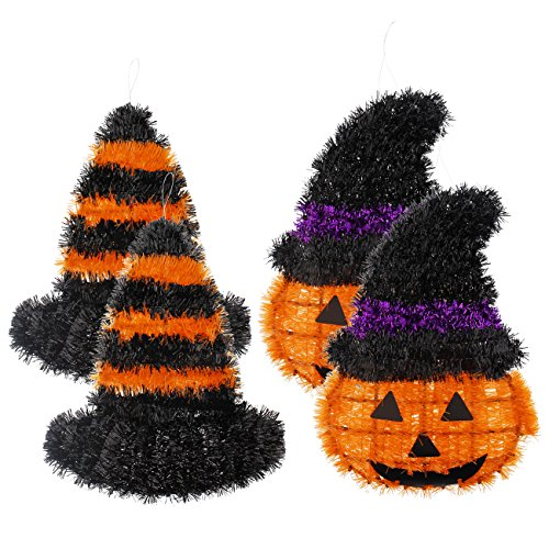 4-Piece Hanging Halloween Decorations - Outdoor, Indoor Halloween Jack O Lantern Pumpkin Face for Hanging, Yard Decoration, Haunted House Decor, Orange and Black