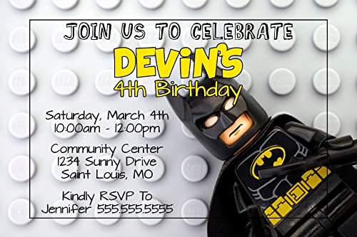 Custom Birthday Party Invitation - Legos, Batman, Personalized ()