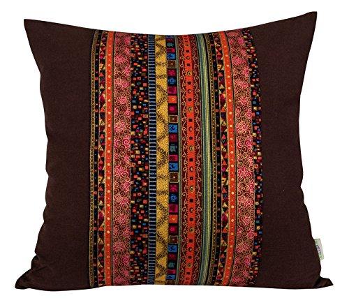 BLUETTEK Cotton Canvas Square Decorative Bohemian Style Throw Pillow Case Cushion Cover 18 \