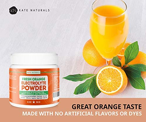 Electrolyte Powder Orange Hydration Supplement – Kate Naturals. 64 Servings. Keto Diet. Sugar Free. Delicious Orange Flavor. Replenish Energy. 1-Year Guarantee 11oz .