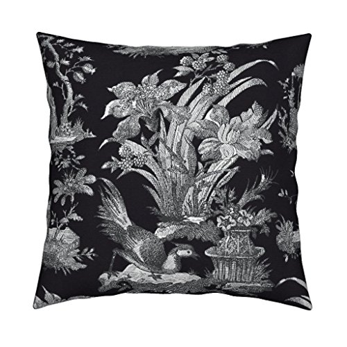 Roostery Toile Eco Canvas Throw Pillow Cover Chinoiserie Asian Black and White Black Modern Chinese by Peacoquettedesigns Cover w Optional Insert