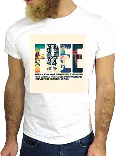 T SHIRT JODE Z1353 FREE FREEDOM SUMMER SUN FUNNY COOL FASHION NICE GGG24 BIANCA - WHITE XL