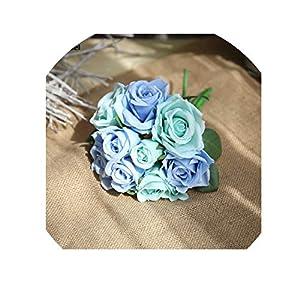 Minyu Wedding Bouquet Bridal Flowers Polyester Rose Bridesmaids Holder Wedding Bouquets Artificial Accessories Wedding Supplies,Azure 36
