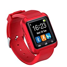 SURMOS Health Smart Watch U80 Wrist Watch Sport with Bluetooth 3.0 Music Alarm for IPhone Android Phone Watch (Red)