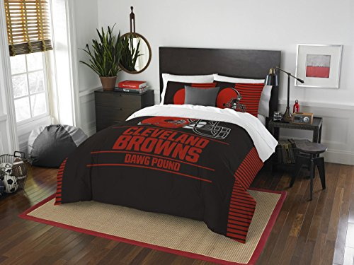 NFL Cleveland Browns Draft Full/Queen Comforter and 2 Sham - Cleveland Browns Comforter Set