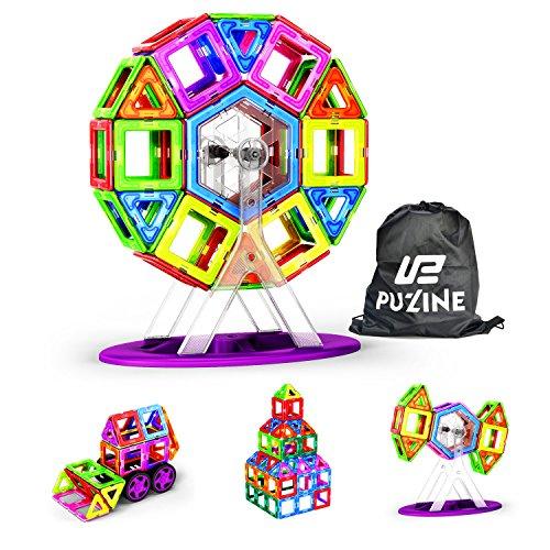 (PUZINE104Pcs Magnetic Building Blocks Toys Educational Magnetic Tiles Set for Boys/Girls, Stacking Blocks for Toddler/Kids (magnet blocksA))