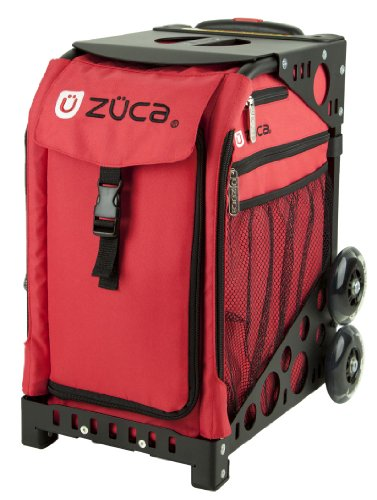 Zuca Chili Sport Insert Bag (Red) with Black Non-Flashing-Wheels Sport Frame by ZUCA