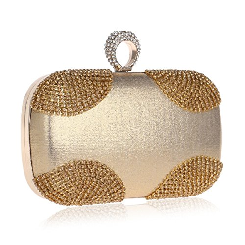 Color Evening Silver Crossbody Bag Gold Handbag Clutch Women's Gold Diamond Purse KERVINFENDRIYUN q4wU8OxX