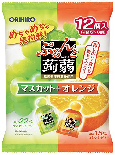 Orihiro plan du Puru do and konjac jelly pouch Muscat + Orange 20gx12 pieces X6 bags