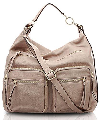 BOVARI Borsa a tracolla / Borsa a spalla donna - Reporter Bag - colore: nude - Dimensioni(cm): 36(L)x 34(A) x 16 (P) - vera pelle