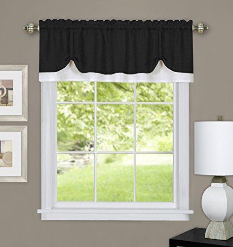 - Ben & Jonah Collection Darcy Window Curtain Valance 58x14- Black/White