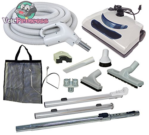 Plastiflex Comet Central Vacuum Kit with Hose, Power Head & Tools - Works with All Brands of Central Vacuum Units (Light Gray, (Nutone Light Vacuums)