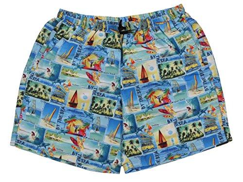 Übergrößen !!! Schick! Bade-Shorts von MARC & MARK JIM 2 Hawaii bunt 3XL - 7XL